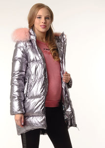 "Winter Down Jacket 2 in 1 ""Arctic"" for pregnant women; color: silver"