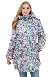 "Winter jacket 3 in 1 ""Iceland"" for pregnant women and baby wear; color: geometry orchid"