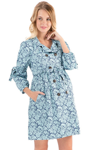 Aida Maternity Trench Coat In Denim With Pattern