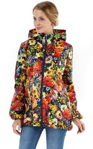 "Raincoat ""Peter"" red flowers, for pregnant women"