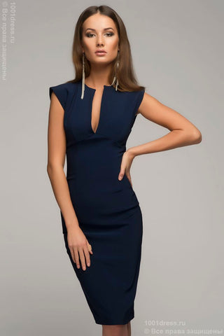 DM00015BL dress bodycon sleeveless with V-neck  blue