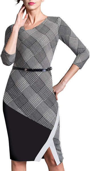 Women's Elegant Patchwork Sheath Sleeveless Business Dress