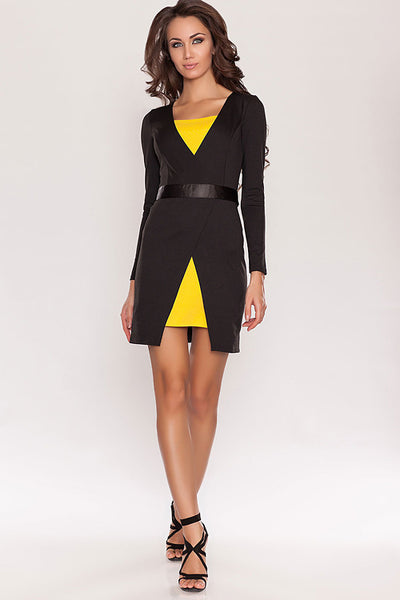 Dress DSP-172-54 black/yellow