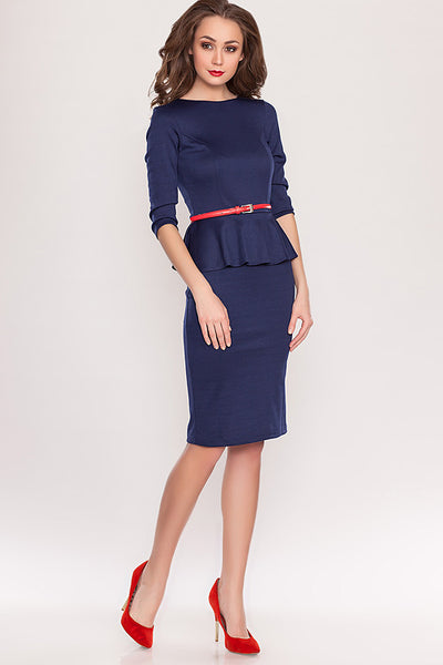 Dress DSP-66-41 with a peplum and a cutout back Navy blue