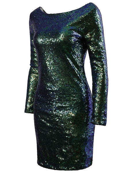 Sparkle Glitzy Glam Sequin Long Sleeve Flapper Party Club Dress