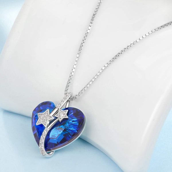 Heart Pendant Necklace 925 Sterling Silver with Blue Swarovski Crystal Gift for Her