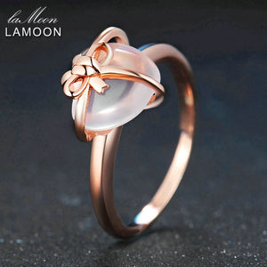 LAMOON 925 Sterling Silver Ring Gemstone Rose Quartz 18K Rose Gold Fine Jewelry Heart Bowknot Wedding Band LMRI051