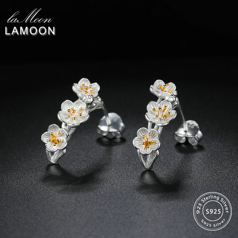 LAMOON 2018 New 2Colors Flower 100% Real 925 Sterling Silver Stud Earrings S925 Fine Jewelry For Women Girl Gift LMEY242