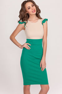 Dress DSP-142-69 beige/emerald