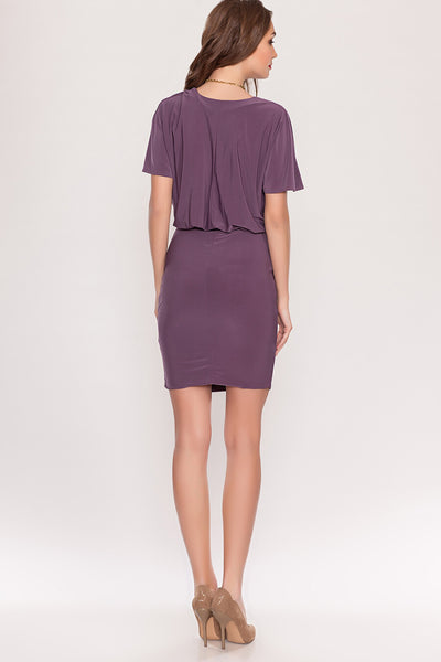 Dress DSP-186-87 purple bat sleeve