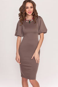 Dress bodycon DSP-169-39 dark mocha with a lush sleeve