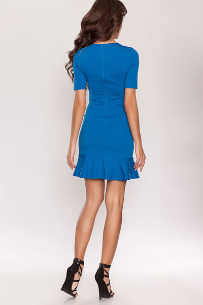 DSP-31-90 Dress sky blue with a flounce