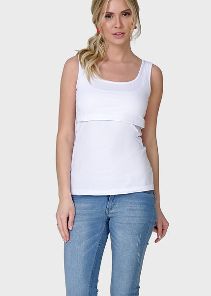Alda Nursing Tank Top In white