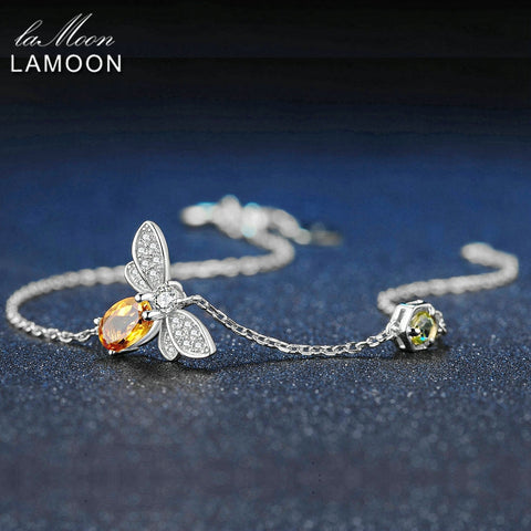 LAMOON Love Bee 925 Sterling Silver Bracelet Woman Citrine Gemstones Jewelry White Gold Plated Chain Designer Jewellery LMHI059