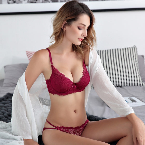 Femal Intimates Floral Lace  Lingerie Set Hollow Out Back Underwear Women Push Up Bra Set Gather Lace Bra And Panty ABC Cup