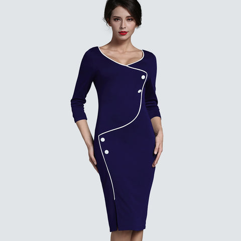 Autumn Optional Illusion Slim Fitted Pencil Midi Robe Business Women Office V Neck Back Zipper Buttons Split Pencil Dress HB329