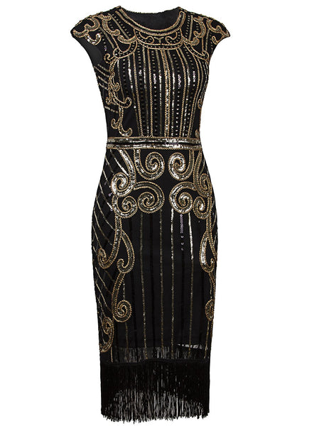 Vintage Inspired Sequin Embellished Fringe Long Gatsby Flapper Dress