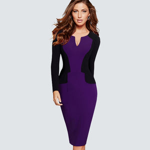 Women Casual Wear To Work Office Business Pencil Dress Elegant Colorblock Contrasting Sheath Fitted Bodycon Dress HB342