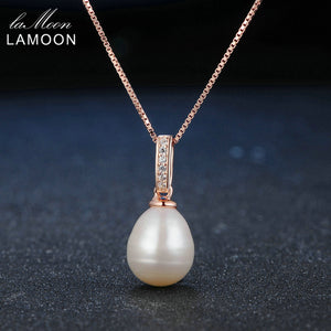 LAMOON Freshwater Pearl 925 Sterling Silver Pendant Necklace For Women 18K Rose Gold Plated Pearl Necklace Fine Jewelry  LMNI047