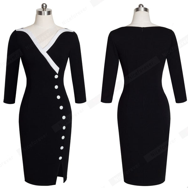 Casual Wear To Work Office Business Side Split Pencil Dress Elegant Women Buttons Patchwork Sheath Slim Bodycon Dress HB335