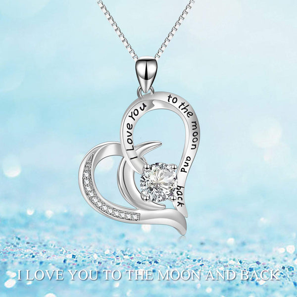 925 Sterling Silver I Love You to The Moon and Back Heart Necklace with Swarovski Crystals Mom Necklace for Mothers Birthday Jewelry Gifts