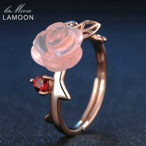 LAMOON 925 Sterling Silver Ring For Women Rose Quartz Gemstone Rose Flower 18K Rose Gold Plate Adjustable Ring  Jewelry LMRI025