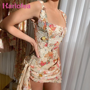 Karlofea New Elegant Floral Sequins Dress Office Ladies Evening Party Luxury Mini Dress Chic Side Drop Ruched Wrap Club Vestidos