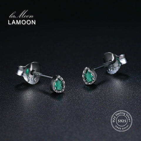 LAMOON 925 Sterling Silver Earring Crystal Green Earring 18K White Gold Plated  Fine Jewelry Mini Water Drop LMEY195 LMEY196