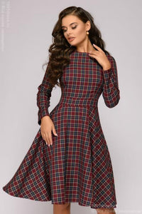 Dress DM00299BO length mini burgundy plaid long-sleeved