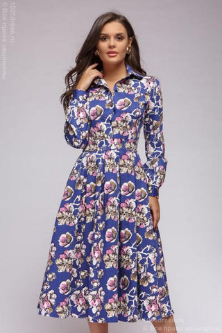 DM00440DB Dress navy print with long sleeves midi length