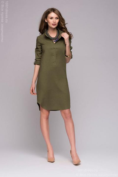 DM00772GR Shirt dress green with slits on the sides