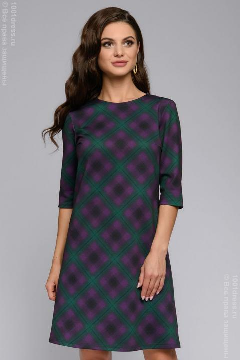 Dress DM00848PP Dress purple checkered length mini with 3/4 sleeves