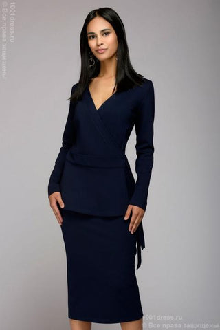 Suit DM00851DB navy with a wrap jacket and a straight skirt