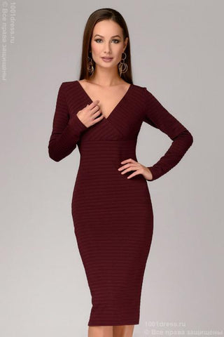 DM00879BO dress burgundy with embossed stripes and long sleeves