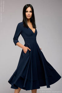 DM00923DB Dress navy blue 3/4 length low cut with sleeves 3/4