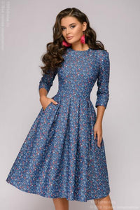 DM01178BB 3/4 Sleeve Denim Midi Dress with Small Print
