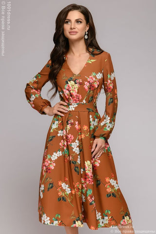 DM01203TC Terracotta Floral Midi Dress Low Cut