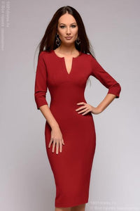 DM01243BO Sheath dress burgundy with V-neck and 3/4 sleeves