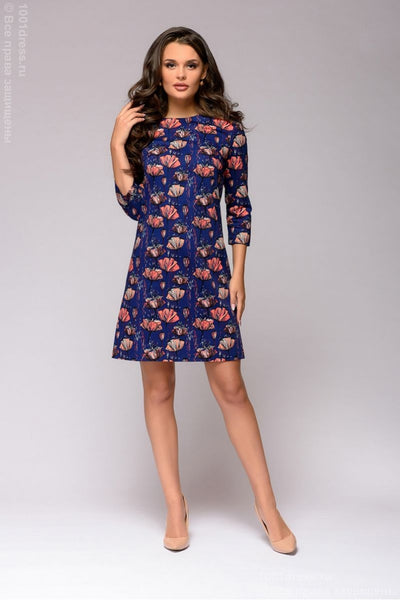 DM01371DB Dress navy blue mini length with floral print and 3/4 sleeves