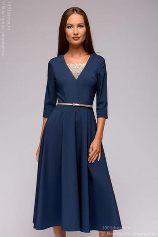 Dress DM01375LB blue midi length with lace insert and 3/4 sleeves