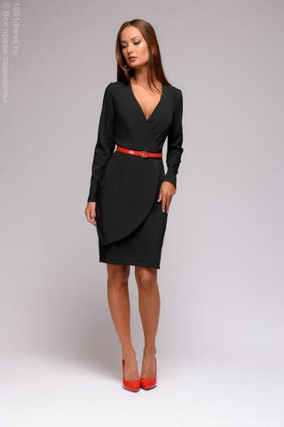 DM01379BK Sheath Dress Black Low Cut Long Sleeves