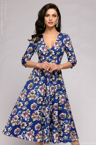 DM01463DB Dress navy blue floral midi length 3/4 sleeves