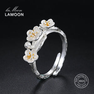 LAMOON 925 Sterling Silver Ring For Women Plum Flower 18K White Gold Plated Fine Jewelry Wiredrawing Designer Jewelry LMRY009