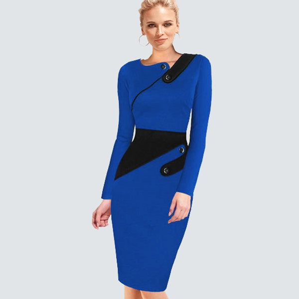 Plus Size Elegant Wear To Work Women Office Business Dress Casual Tunic Bodycon Sheath Fitted Formal Pencil Dress B63 B231