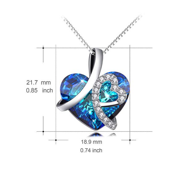Sterling Silver I Love You Forever Heart Pendant Necklace with Blue Swarovski Crystals