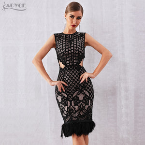 Elegant Black  Sleeveless Sexy Feather Bodycon Club Lace Dress