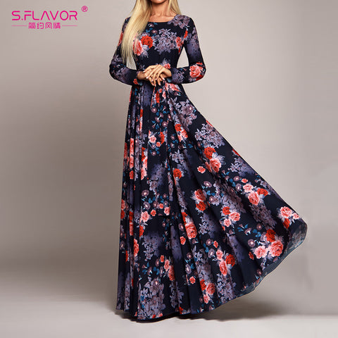 Elegant Women Robe Long Sleeve Printed Dress