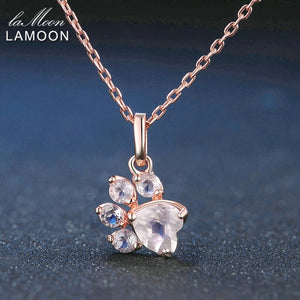 LAMOON Bear's Paw Pendant 925 Sterling Silver Necklace Natural Rose Quartz Gemstone Jewelry Rose Gold Chain Necklaces LMNI027
