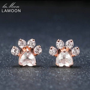 LAMOON 925 Sterling Silver Earrings For Women Bearfoot Rose Quartz Gemstone Earings 18K Rose Gold Plated Fine Jewelry LMEI040