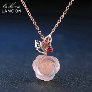 LAMOON Rose Flower 925 Sterling Silver Necklace Rose Quartz Gemstone Necklaces 18K Rose Gold Plated Fine Jewelry LMNI025